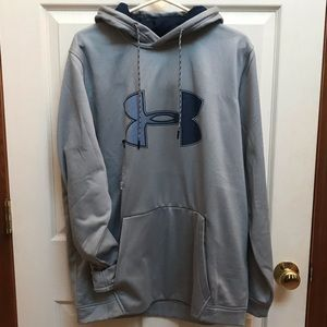 Under armour gray/blue graphic long sleeve hoodie